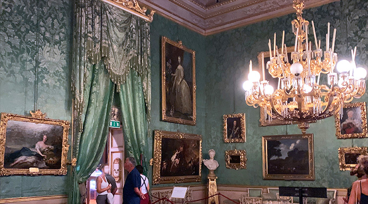 pitti palace, sala della guardia, guard room, royal apartments, green room, silk wall coverings, historical paintings, palazzo pitti, medici palace, florence italy, firenze, grecian urn, italian castles,