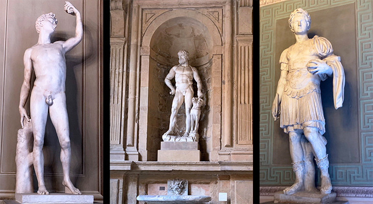 pitti palace, sculptures, statues, baccio badinelli, bacchus, renaissance artists, hercules and cerberus, roman soldier, palazzo pitti, medici palace, florence italy, firenze, italian castles,