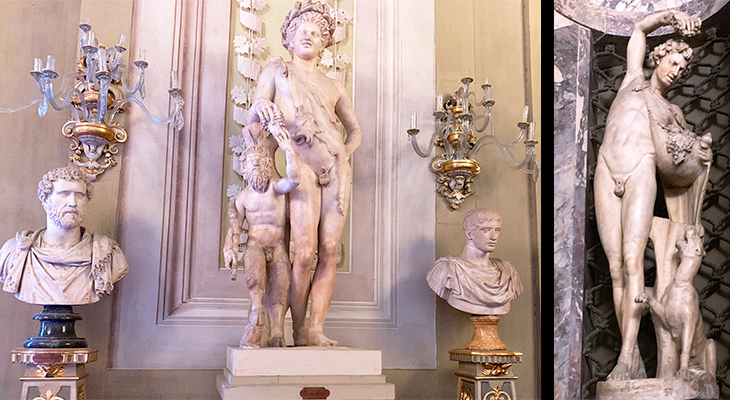 pitti palace, sculptures, statues, sculpture gallery, roman imperial age, faun, panther, goat, pan, roman busts, antoninus pius, achilles, doryphoros, palazzo pitti, medici palace, florence italy, firenze, italian castles