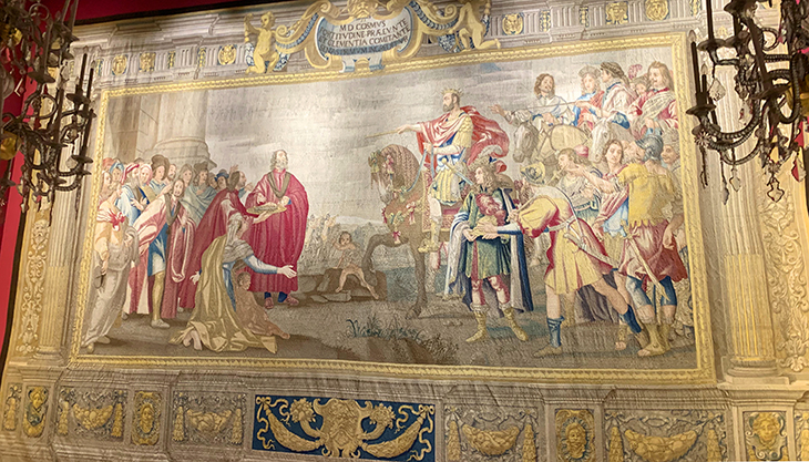 pitti palace, ferdinando ii tapestry commission, cosimo i de medici tapestries, wool and silk tapestries, cosimo i de medici taking possession of siena, palazzo pitti, medici palace, florence italy, firenze, italian castles,
