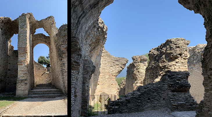 grottoes of catullus, grotte di catullo, hall of giants, lake garda, early roman ruins, olive trees, sirmione archaeological site, northern italy, travel to italy,