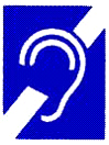 broken ear, hard of hearing symbol for assistive devices