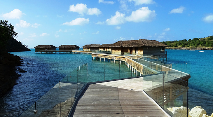 antigua, caribbean island, royalton antigua resort and spa, overwater bungalows, deep bay beach
