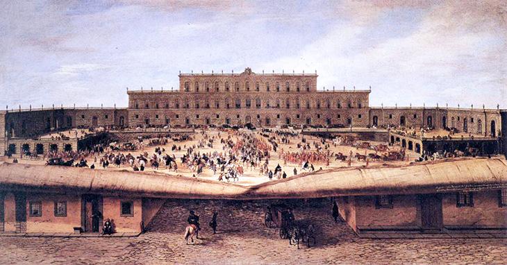 pitti palace, palazzo pitti, medici palace, florence italy, firenze, italian castles, courtyard, historical painting