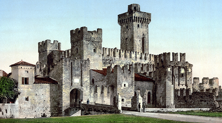 scaligero castle, scaliger family, della scala family, historic photo, lake garda, medieval castle, northern italy, castello scaligero, travel to italy, italian lakes district, lombardy, brescia