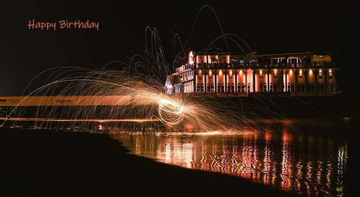 happy birthday wishes, birthday cards, birthday card pictures, famous birthdays, fireworks, daytona beach, florida, building, lights