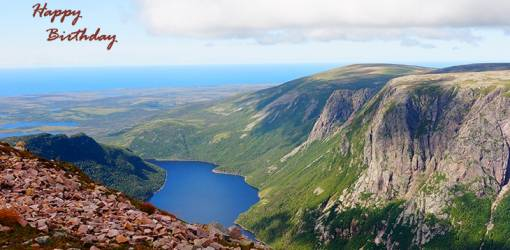 happy birthday wishes, birthday cards, birthday card pictures, famous birthdays, mountains, lake, gros morne, national park, newfoundland, nature scenery