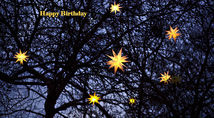 happy birthday wishes, birthday cards, birthday card pictures, famous birthdays, stars, night sky, lights, yellow