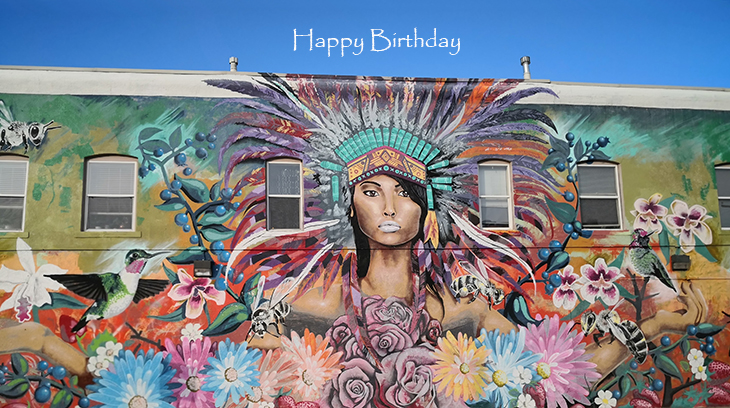 happy birthday wishes, birthday cards, birthday card pictures, famous birthdays, mural, wall painting, denver, colorado, native american art