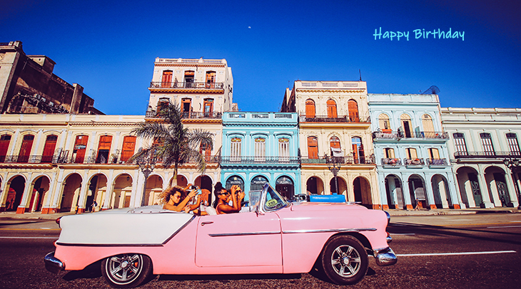 happy birthday wishes, birthday cards, birthday card pictures, famous birthdays, pink, car, automobile, vintage, convertible, old, havana, cuba