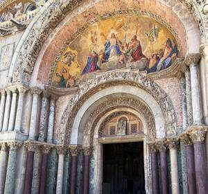 st marks square, piazza san marco, venice, italy, st marks basilica, basilica of saint mark, church entrance, fresco,