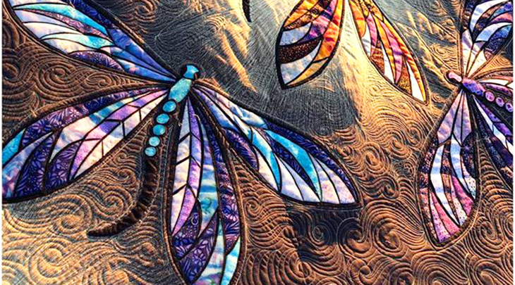 dragonfly quilt, custom made quilts, quiltingstitches, longarm quilter, home made quilt, creative quilt designs,