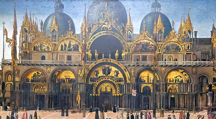 st marks square, procession in piazza san marco, gentile bellini, historical painting, st marks basilica, basilica of saint mark, venetian church, venice, italy, entrance mosaics