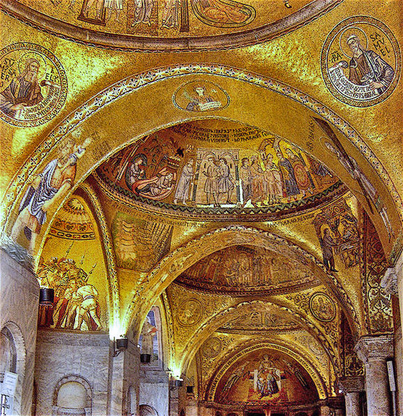 st marks basilica interior, gold mosaics, gold glass tesserae, venice italy, piazza san marko, basilica of saint mark, chiesa doro, church of gold, venetian church