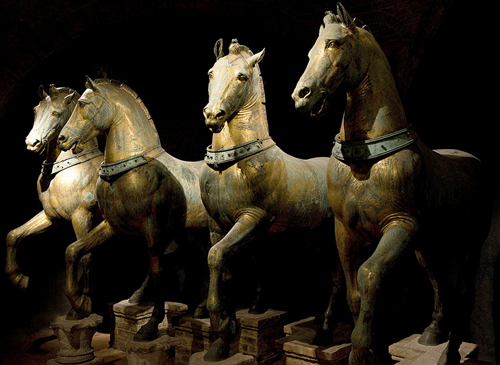 st marks basilica, basilica of saint mark, church, four horses of saint mark-lysippos, bronze statue, copper sculpture, roman horses, triumphal quadriga, constantinople, venice, italy,