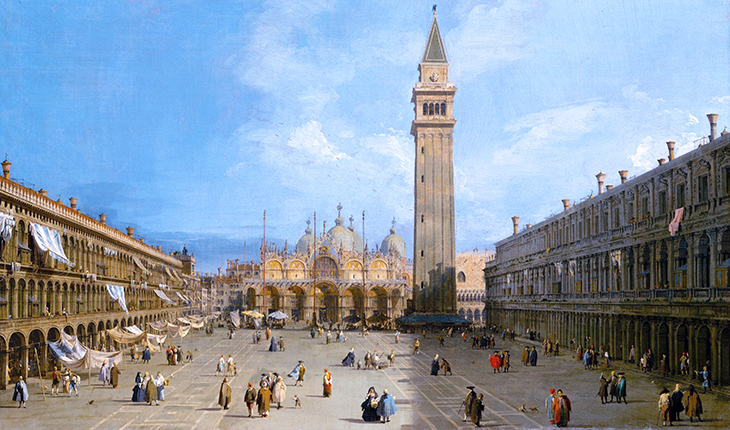 st marks square, piazza san marco, venice, italy, canaletto, historical painting, st marks basilica, st marks bell tower, st marks procuratie nuove, procuratie vecchie