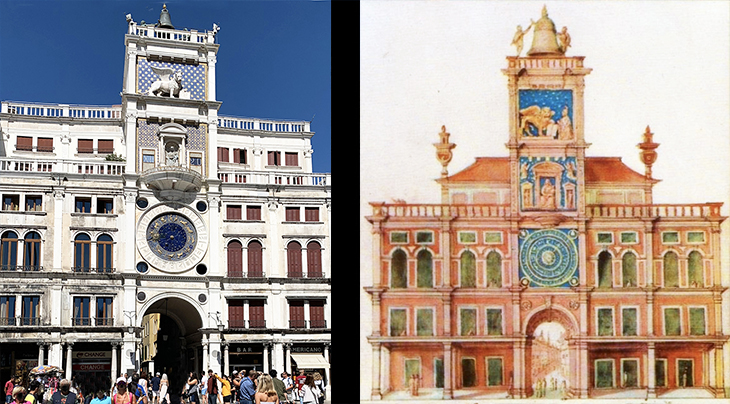 st marks square, piazza san marco, venice, italy, clocktower, lion of saint marks, archway, mercia entrance, virgin and child statue, bronze bell, the moors, francisco de holanda, historical painting, drawing