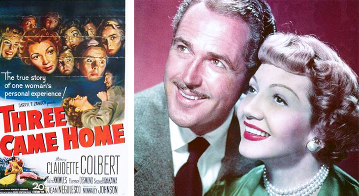 three came home, 1950s film premiere, wwii movies, classic film stars, claudette colbert, american actress, patric knowles, british actors,