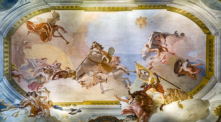 grand canal palazzos, venice italy, ca rezzonico, family palace, bon family castles, historic palaces, giambattista rezzonico palazzo, tiepolo painting, salon of the allegory ceiling, baroque, rococo, venetian architecture,