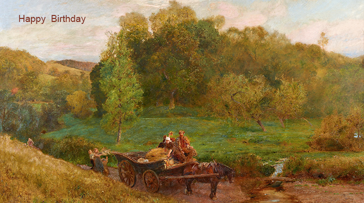 happy birthday wishes, birthday cards, birthday card pictures, famous birthdays, landscape, painting, sweet water meadows of the west, john william north,