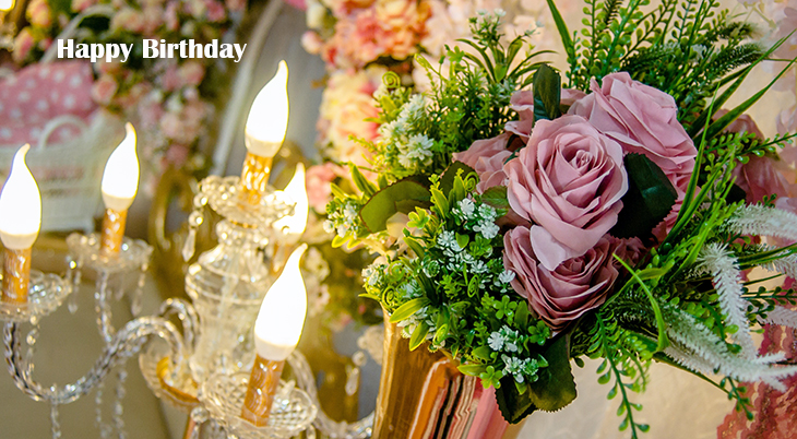 happy birthday wishes, birthday cards, birthday card pictures, famous birthdays, pink flowers, roses, candles, lights