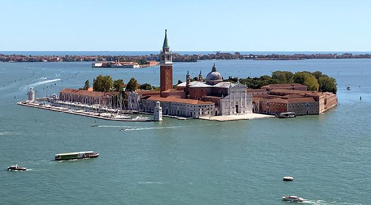 san giorgio maggiore island, church, st marks square, bell tower, venice, italy, venetian lagoon,