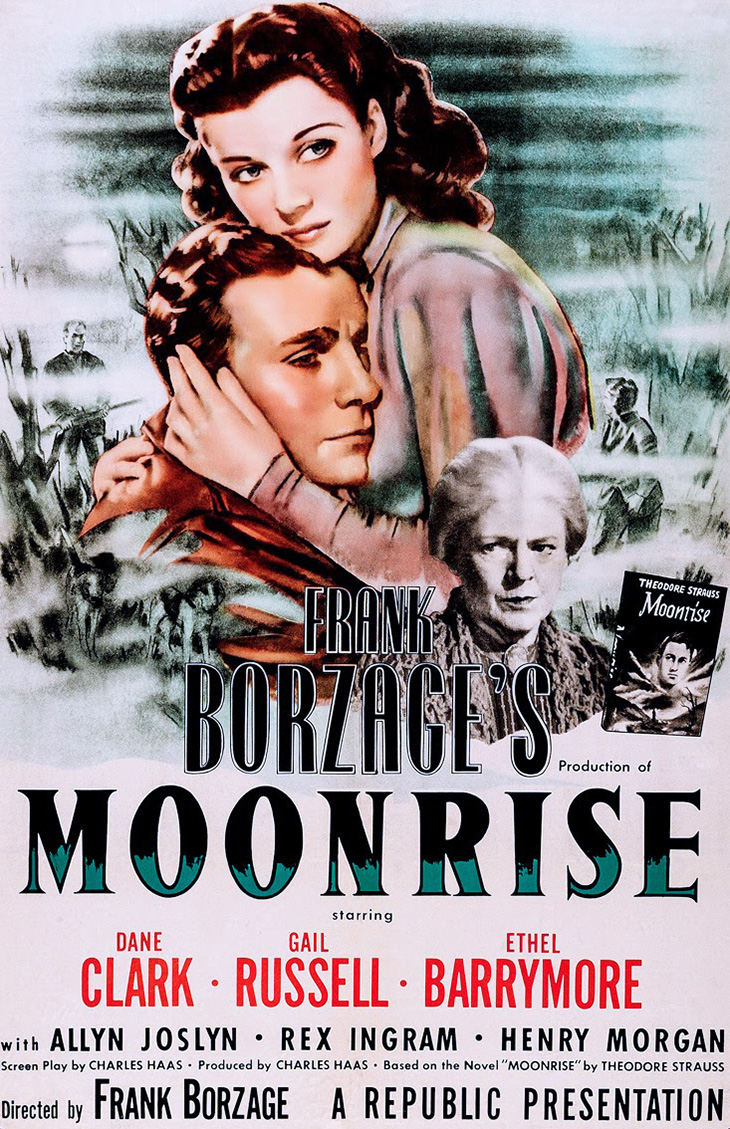 gail russell, dane clark, ethel barrymore, american actors, classic movies, 1940s film noir, moonrise, 1948 movie poster, republic pictures