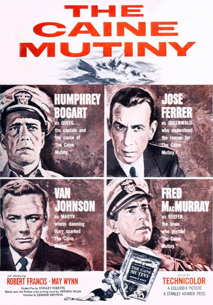 the caine mutiny, 1954, movies, film stars, actors, fred macmurray, humphrey bogart, van johnson, jose ferrer, director, edward dmytryk, producer, stanley kramer, wwii, herman wouk books,