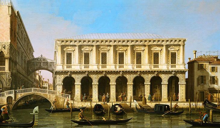 doges palace prison, venice, italy, ponte della paglia, bridge of sighs, venetian lagoon, st marks basin, rio del palazzo canal, gondolas, canaletto, historical painting
