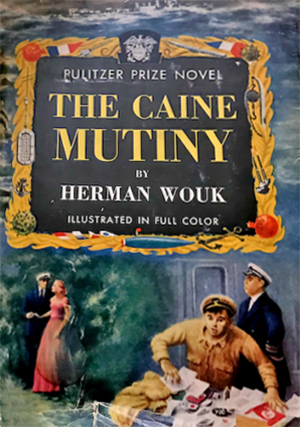 the caine mutiny, 1952 bestsellers, book covers, wwii novels, herman wouk books, pulitzer prize for fiction book