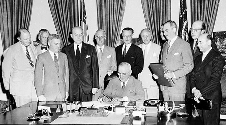 president harry truman, north atlantic treaty, 1949 news, original nato members, ambassadors, america, denmark, canada, norway, france, portugal, netherlands, italy