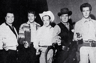 clint eastwood 1961, ernest borgnine, wayde preston, hugh downs, gene barry, fast draw contest, western tv show stars, classic television, movie stars, american actors, western films