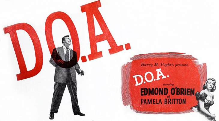 edmond obrien, pamela britton, american actors, movie stars, classic films, 1950 movies, doa, film noir, movie advertisement