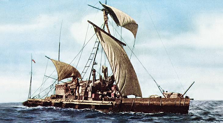 kon tiki raft, thor heyerdahl, expedition, easter island, peru, french polynesia, across the south seas, norwegian exploration