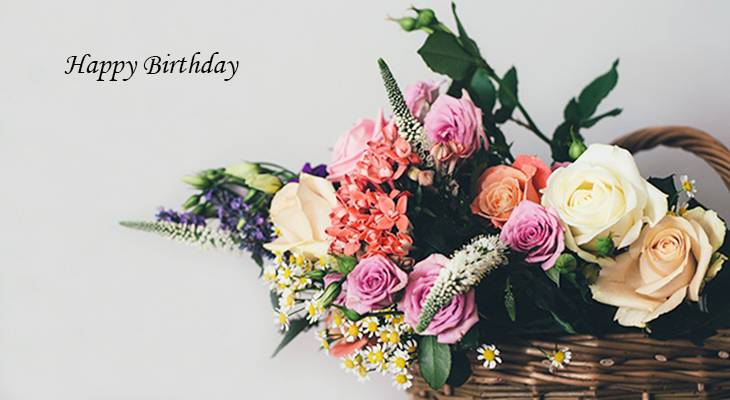 happy birthday wishes, birthday cards, birthday card pictures, famous birthdays, pink flowers, white roses, flower basket