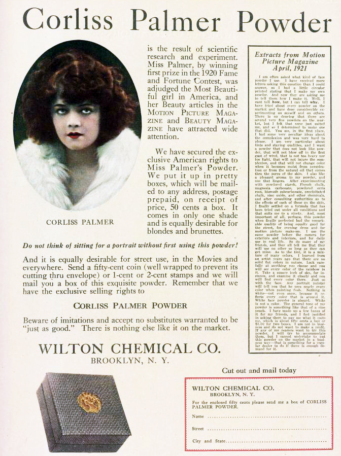 corliss palmer peach bloom powder, american actress, wilton chemical company, 1922, beauty products,