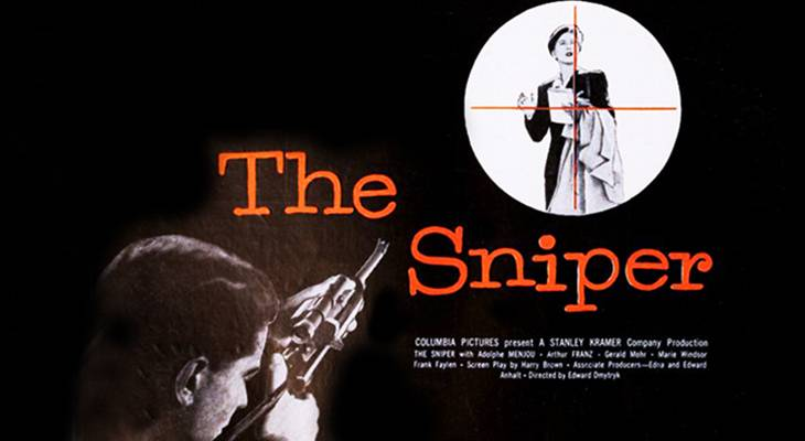 the sniper, 1952 movies, may 1952 film premiere, film noir, classic movies, films starring arthur franz, directed by edward dmytryk, stanley kramer producer