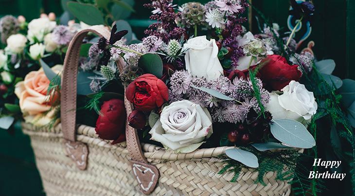 Red, White & Yellow Roses Flower Basket Photo: Annie Spratt happy birthday wishes, birthday cards, birthday card pictures, famous birthdays, red roses, white flowers, peach, flower basket