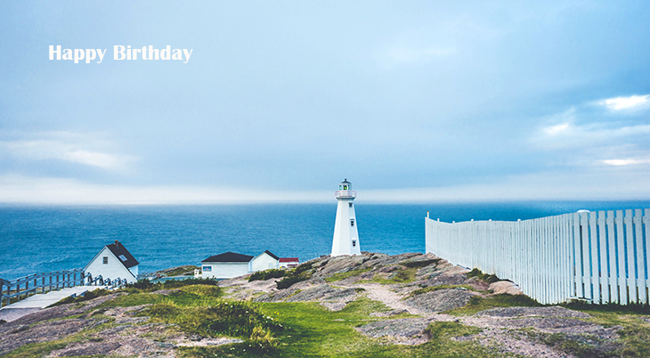 happy birthday wishes, birthday cards, birthday card pictures, famous birthdays, lighthouse, cape spear, st johns, newfoundland, ocean, blue sky, clouds