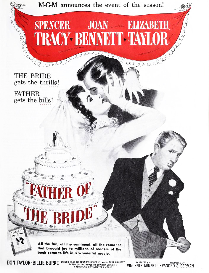 elizabeth taylor, don taylor, spencer tracy, american actors, 1950 movies, classic films, father of the bride,
