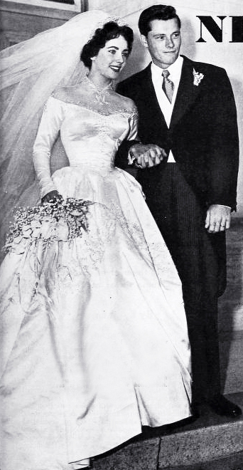 elizabeth taylor, 1950 wedding, conrad hilton jr, nicky hilton, celebrity weddings, may 1950, american actress, hilton hotels