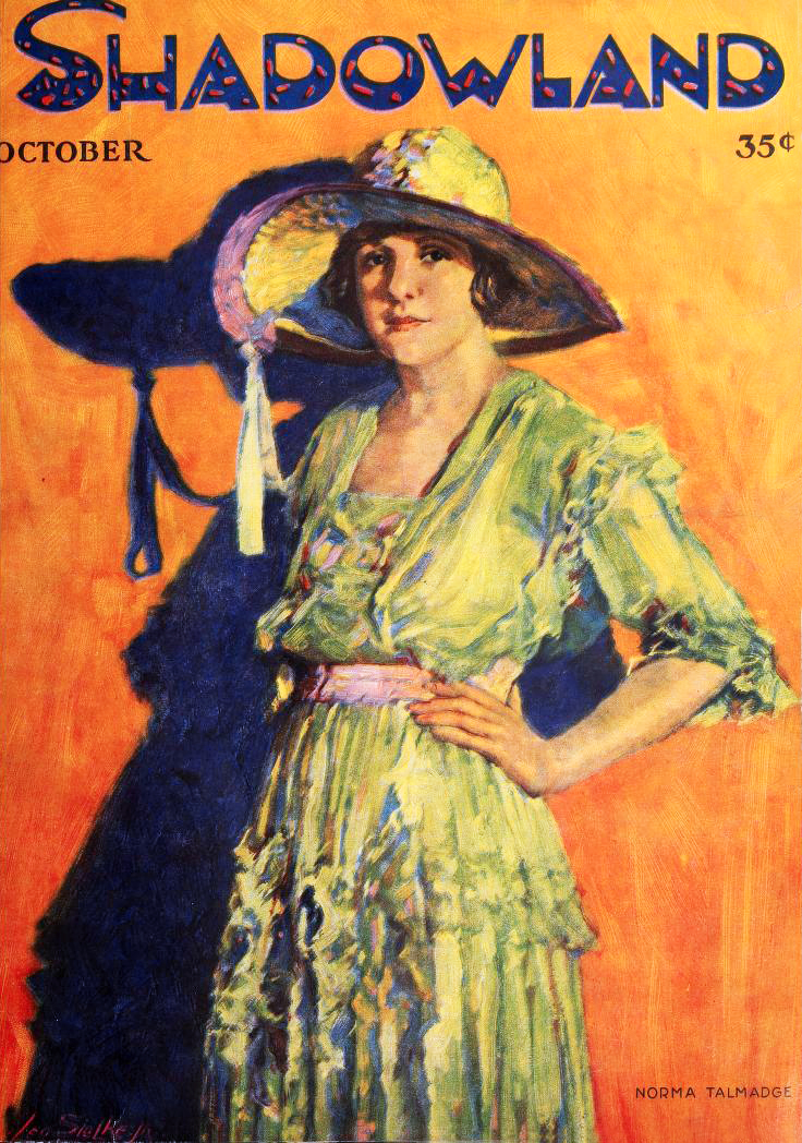 norma talmadge, american actress, silent movies, film star, 1919, color portrait, leo sielke jr, 1919, vintage fan magazines, shadowland, old magazine covers,