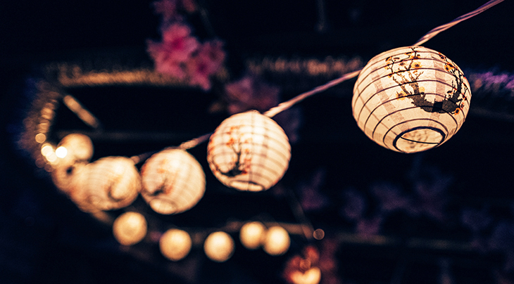 outdoor lights, light string, chinese lanterns, paper lights