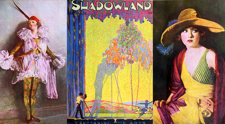 shadowland magazine, 1919, eugene v brewster publisher, the jazz age fan magazines, art deco, color magazine covers, a m hopfmuller, a m hopfmuller, portraits, leo sielke jr, silent movies, actresses, mollie king, yvonne shelton,