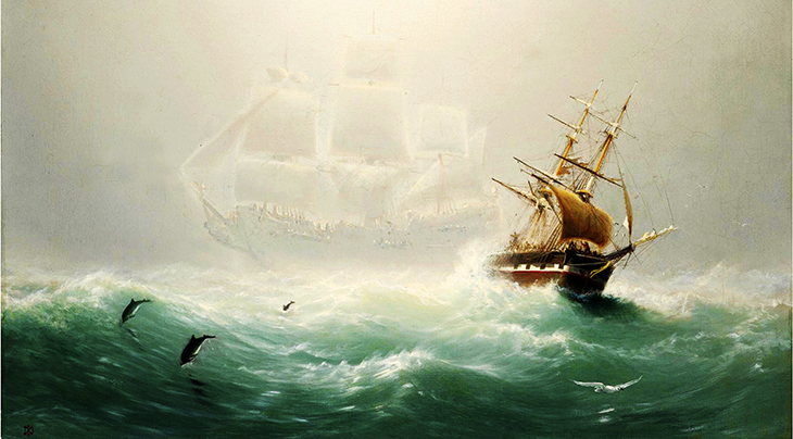flying dutchman, galleons, old ships, sailing boats, old paintings, charles temple dix