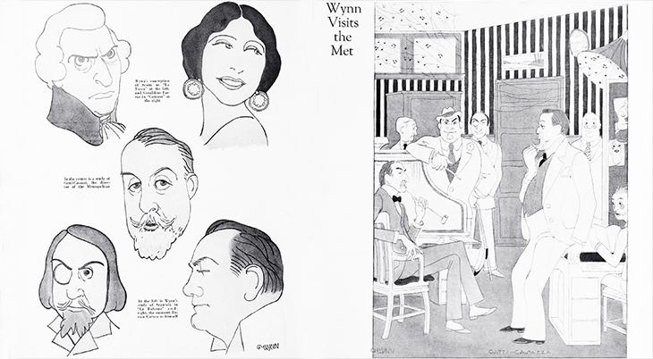 wynn holcomb, american artist, illustrator, caricatures, wynn visits the met, metropolitan opera, new york opera, 1920, enrico caruso, giulio gatti-casazza, segurola, scotti, feraldine farrar, william gerard