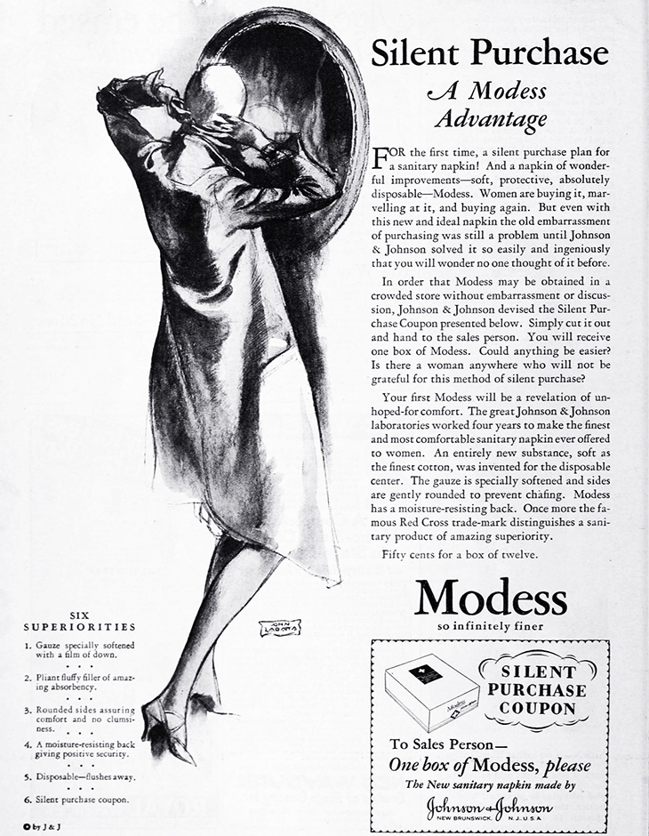 modess, 1928, advertising, womens products, sanitary napkins, menstruation, feminine hygiene, fashion, hats, silent coupons