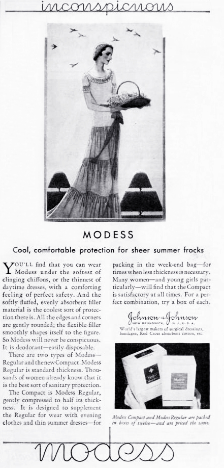 modess, 1931, advertising, womens products, sanitary napkins, menstruation, feminine hygiene, fashion, hats, dress