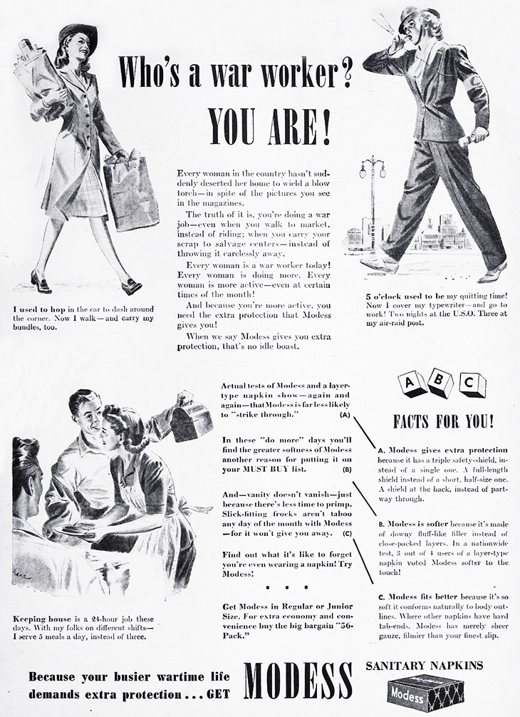 modess, 1942 fashions, advertising, world war ii fashion, hats, clothes, working women, womens products, sanitary napkins, menstruation, feminine hygiene,
