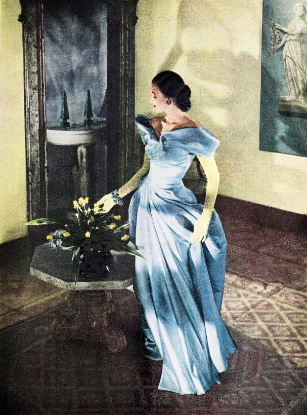 modess because ad, 1947, womens fashion, hats, dresses, advertising, designer gowns, charles james, high fashion, supermodels, womens products, sanitary napkins, menstruation, feminine hygiene, johnson and johnson,